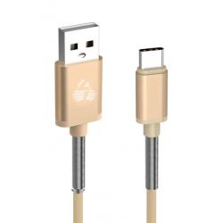 POWERTECH ΚΑΛΩΔΙΟ USB ΣΕ TYPE-C FLEUX ALU PTR-0022 COPPER 1m ΧΡΥΣΟ